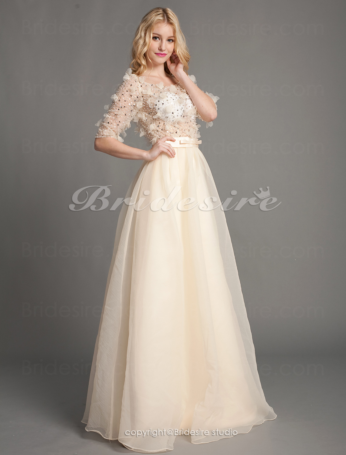 A-line Floor-length Off-the-shoulder Luxurious Tulle Over Chiffon Dresses