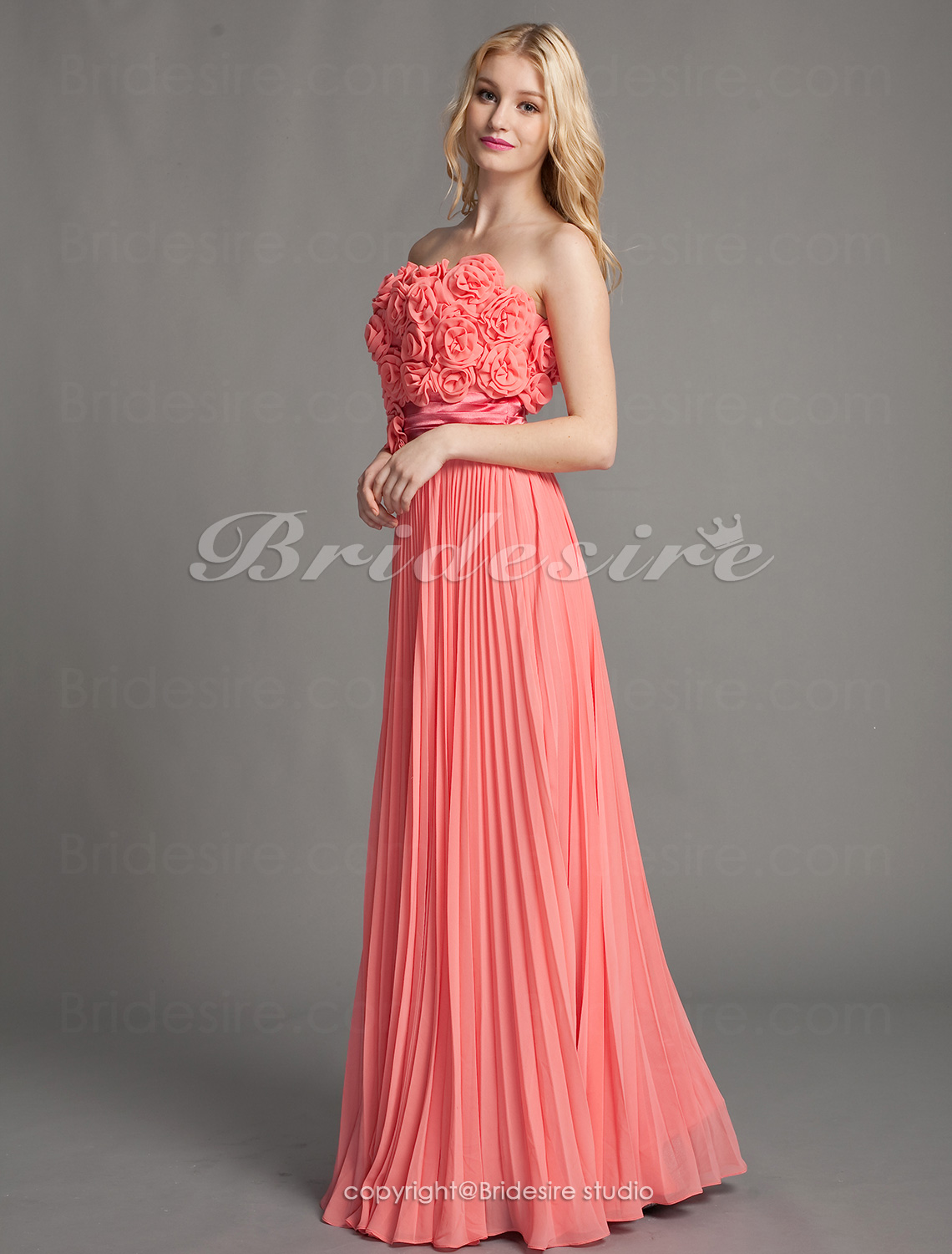 Sheath/Column Chiffon Floor-length Strapless Evening Dress