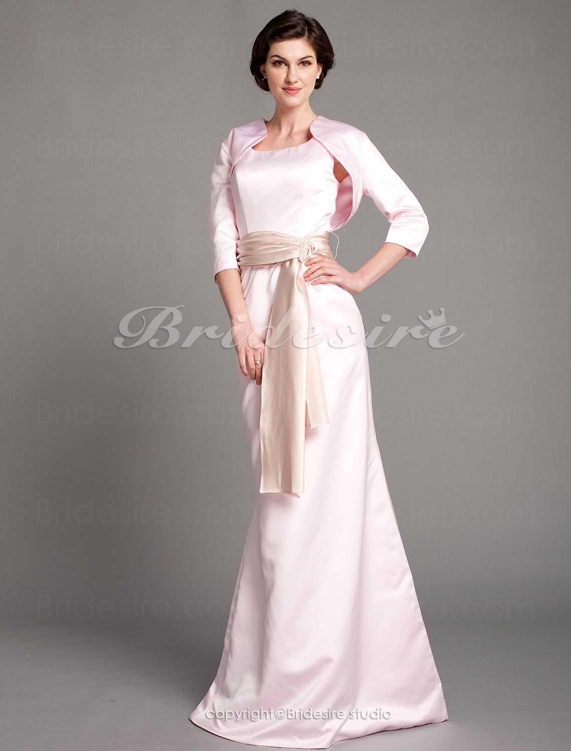 Trumpet/ Mermaid Satin Floor-length Square Mother of the Bride Dress With A Wrap