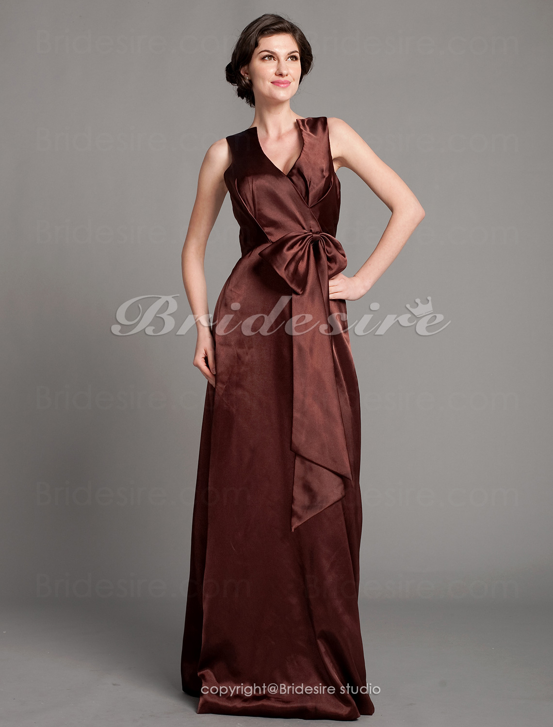 A-line Satin Floor-length V-neck Mother of the Bride Dress