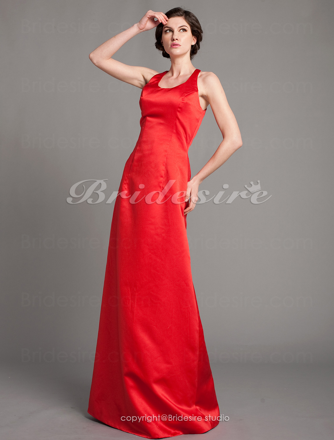 A-line Satin Floor-length Scoop Mother of the Bride Dress
