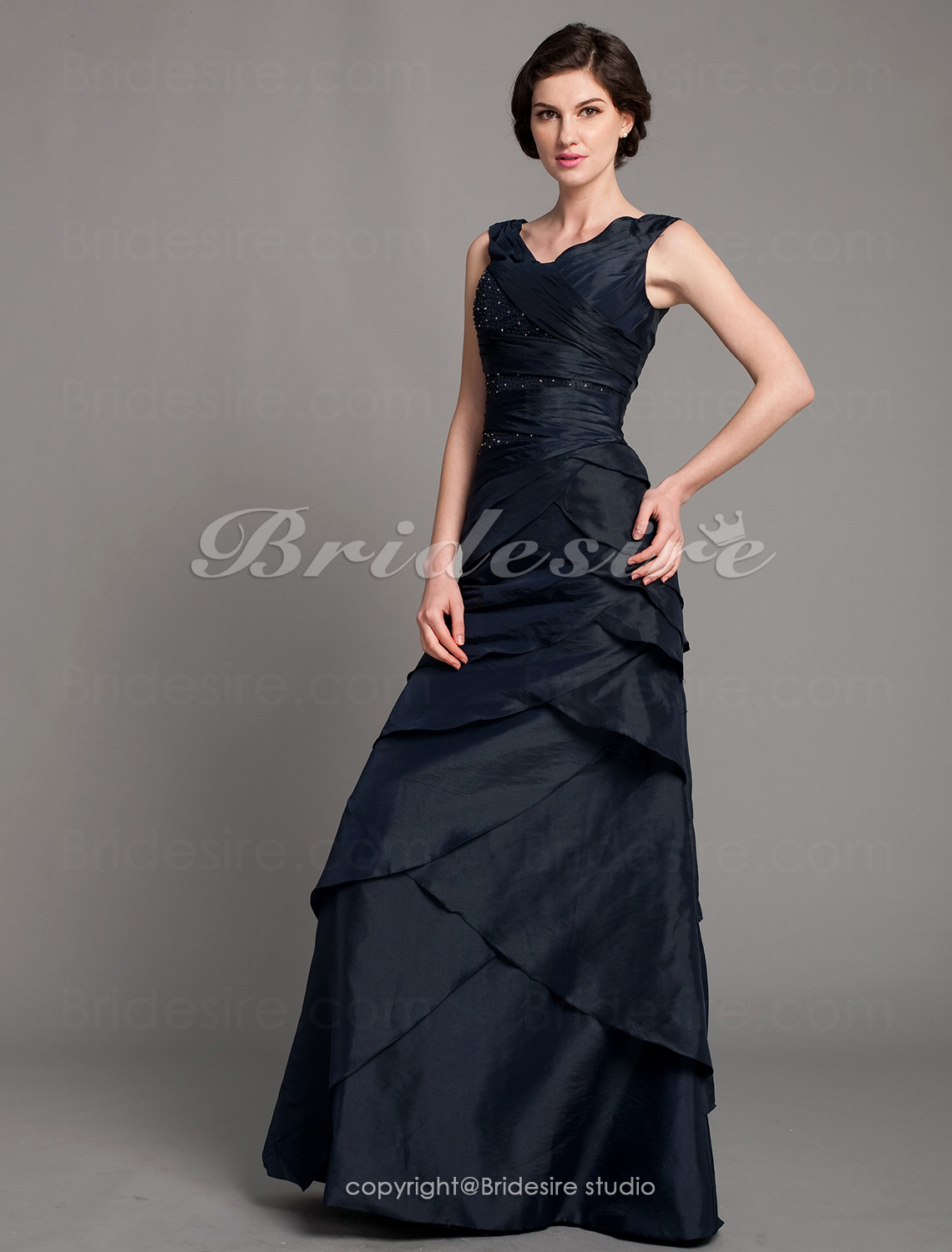 A-line Taffeta Floor-length Off-the-shoulder Mother of the Bride Dress