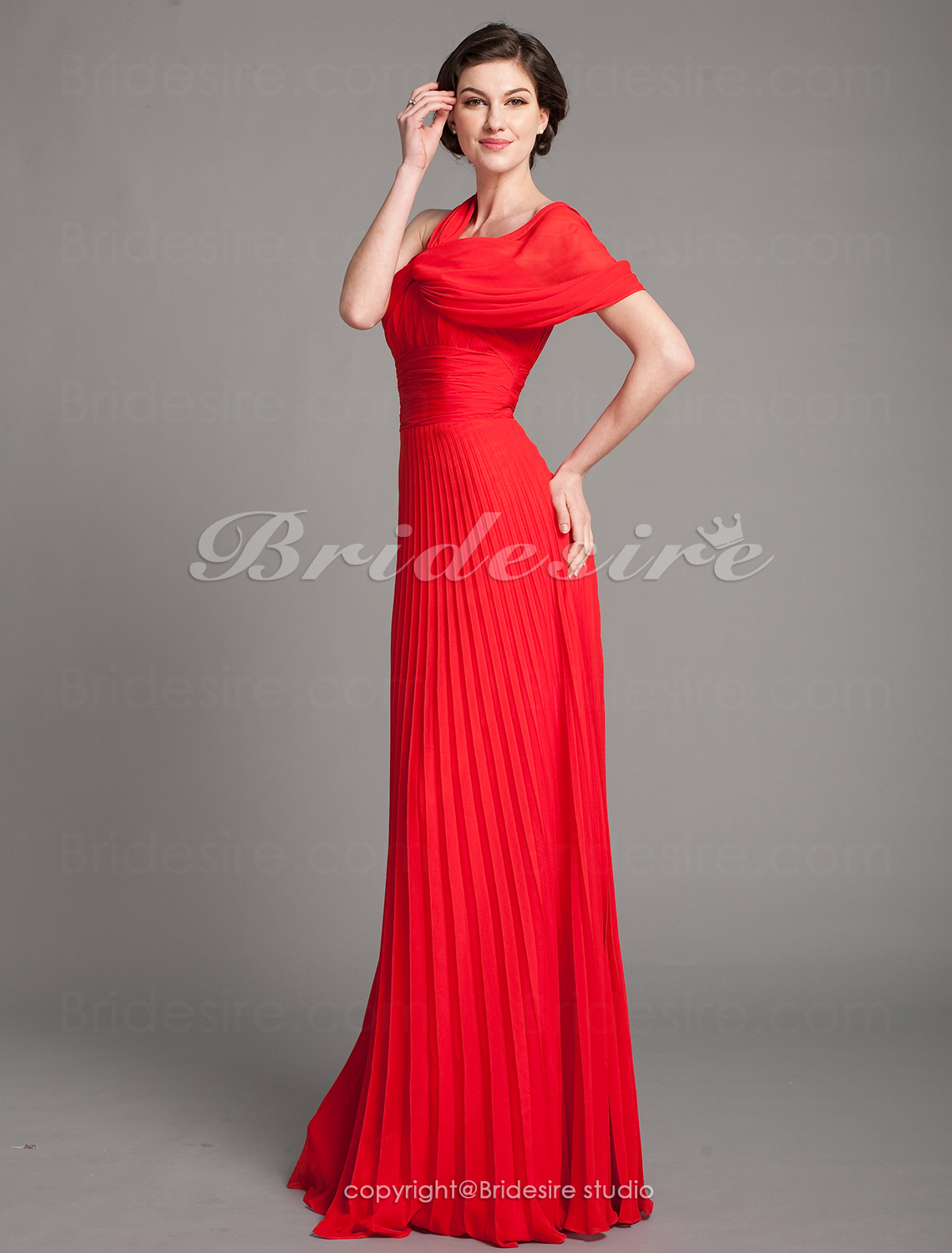 Sheath/ Column Chiffon V-neck Pleated Floor-length Mother of the Bride Dress