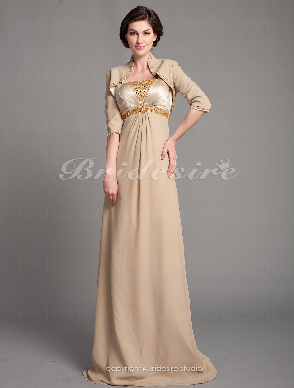 Sheath/Column Stretch Satin And Chiffon Floor-length Mother Of The Bride Dress With A Wrap