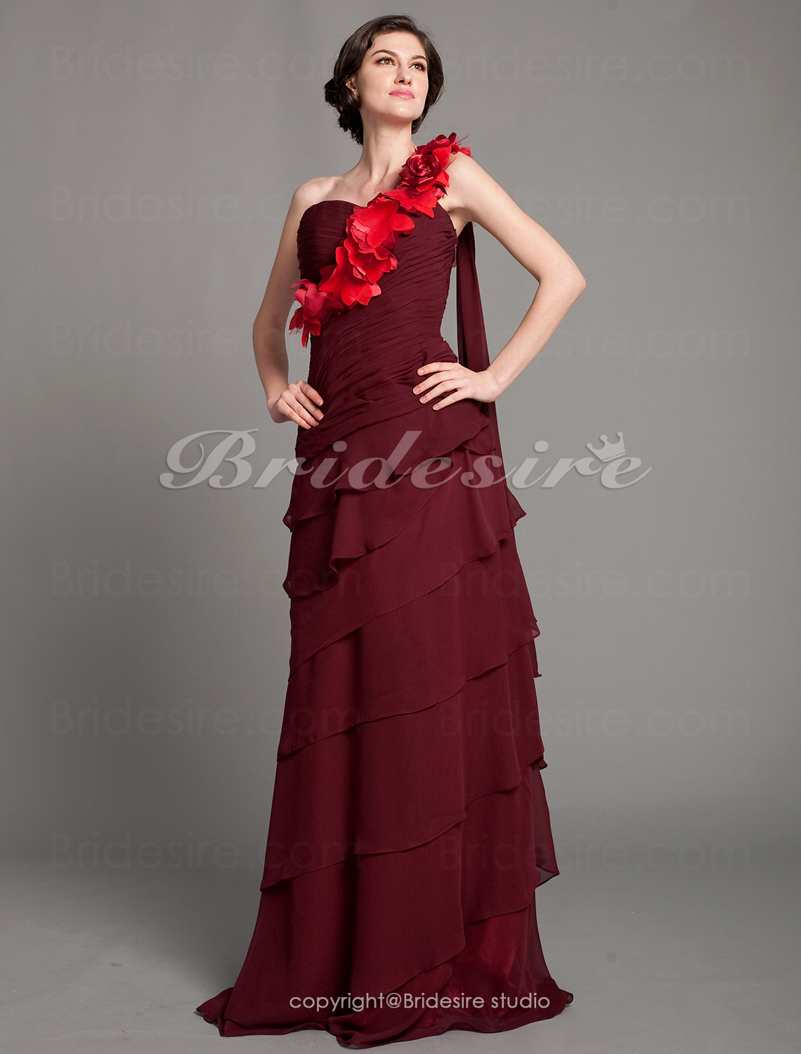 A-line Chiffon Floor-length One Shoulder Mother of the Bride Dress