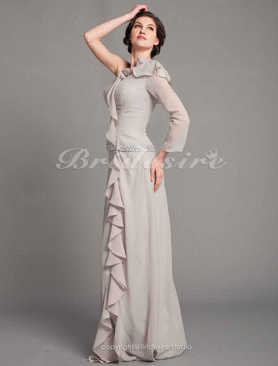 Sheath/Column Stretch Satin And Chiffon Floor-length One Shoulder Mother Of The Bride Dress