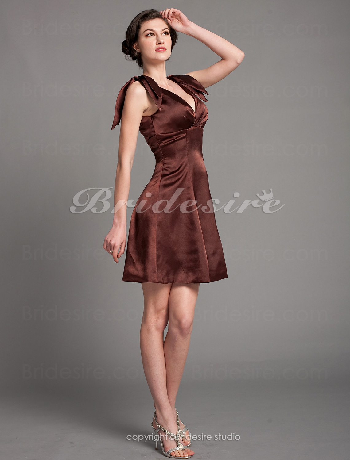 A-line Stretch Satin Short/Mini V-neck Bridesmaid Dress