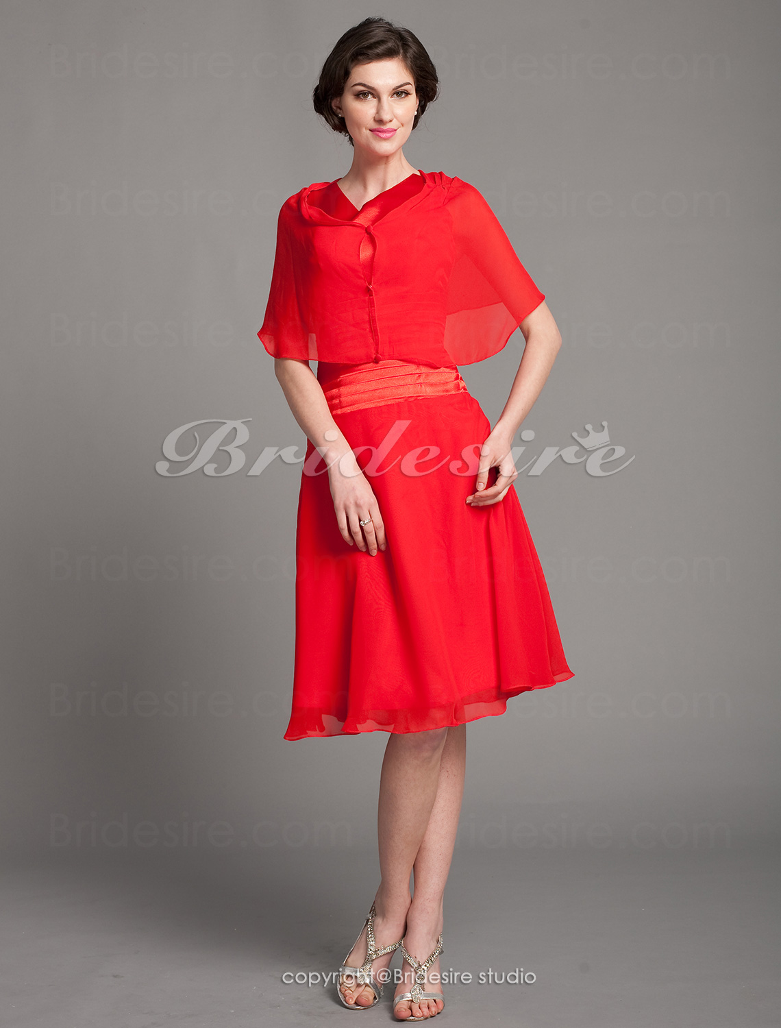 A-line Chiffon Knee-length Cowl Mother Of The Bride Dress