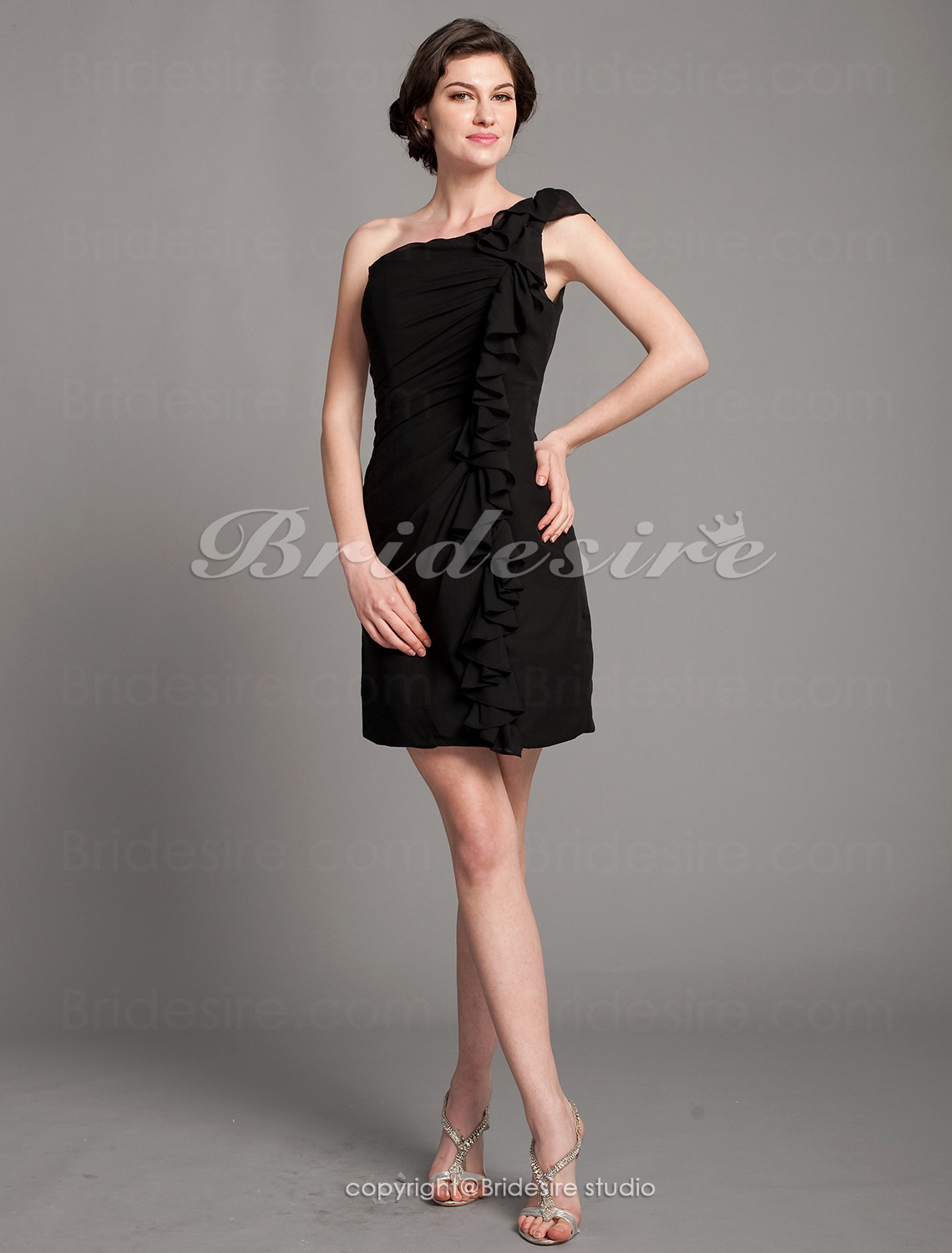 Sheath/Column Chiffon Short/Mini One Shoulder Mother of the Bride Dress
