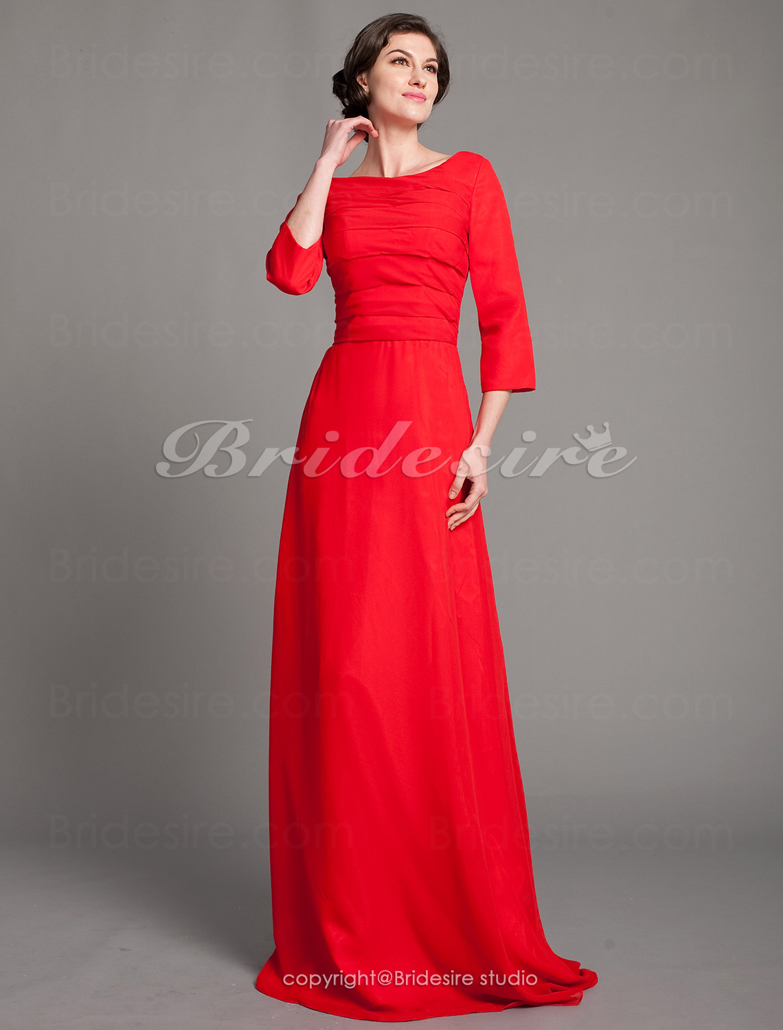 Sheath/Column Chiffon Floor-length Bateau Mother of the Bride Dress