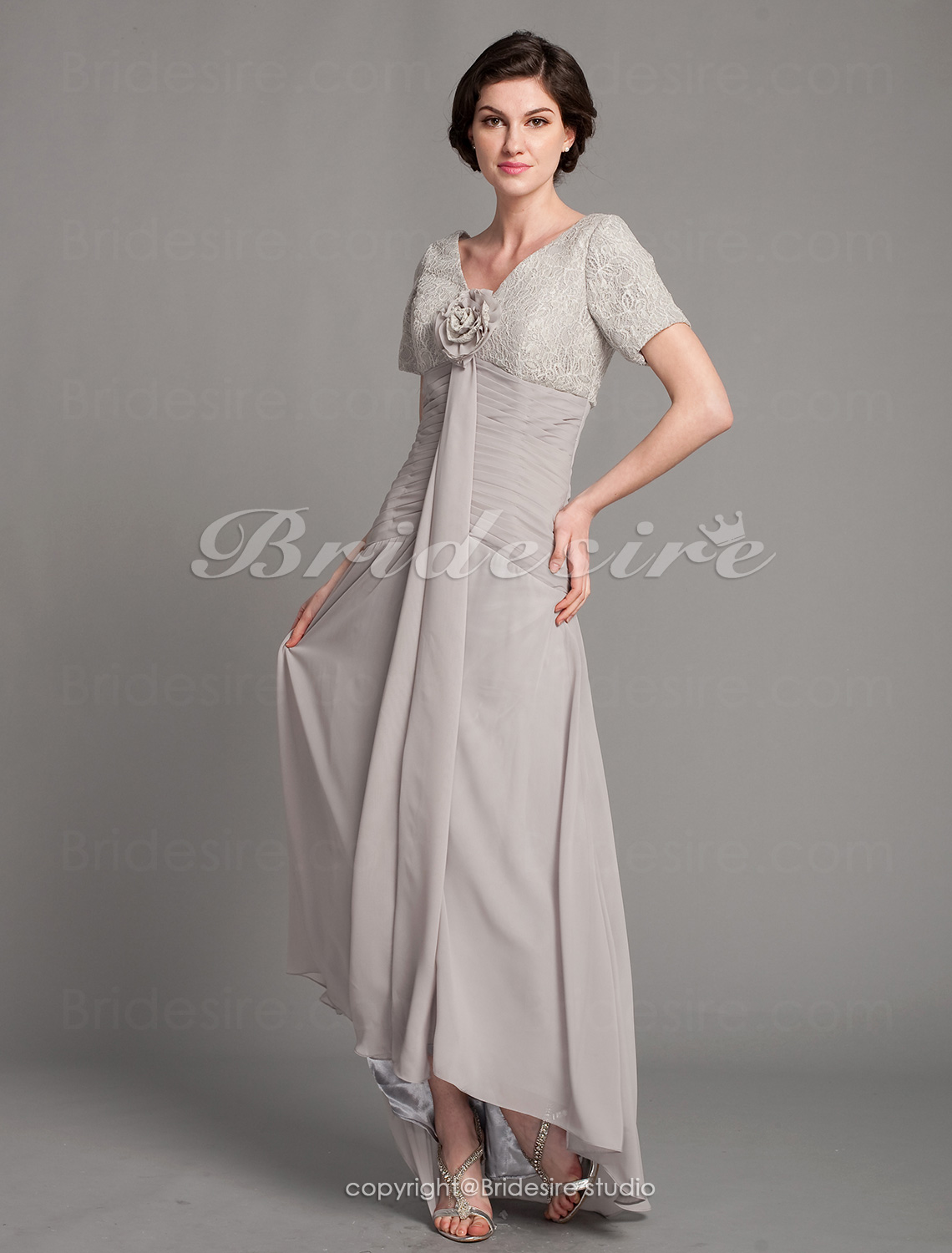 A-line Asymmetrical V-neck Chiffon And Lace Mother of the Bride Dress With A Wrap