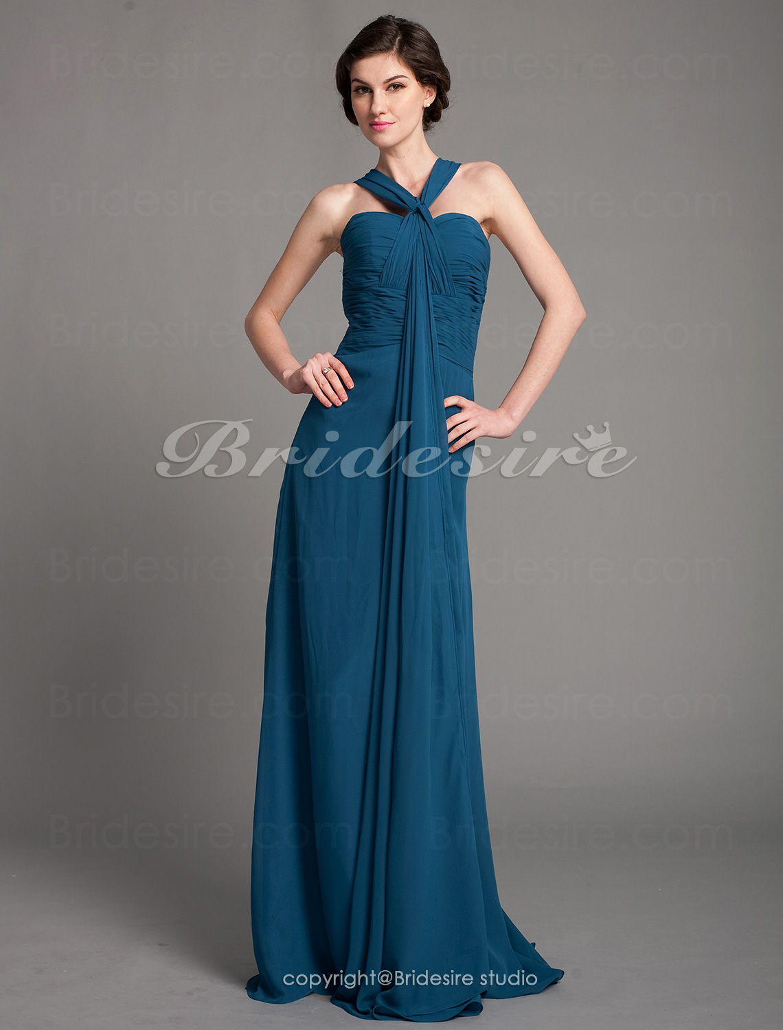Sheath/Column Chiffon Floor-length Sweetheart Bridesmaid Dress With Ruching