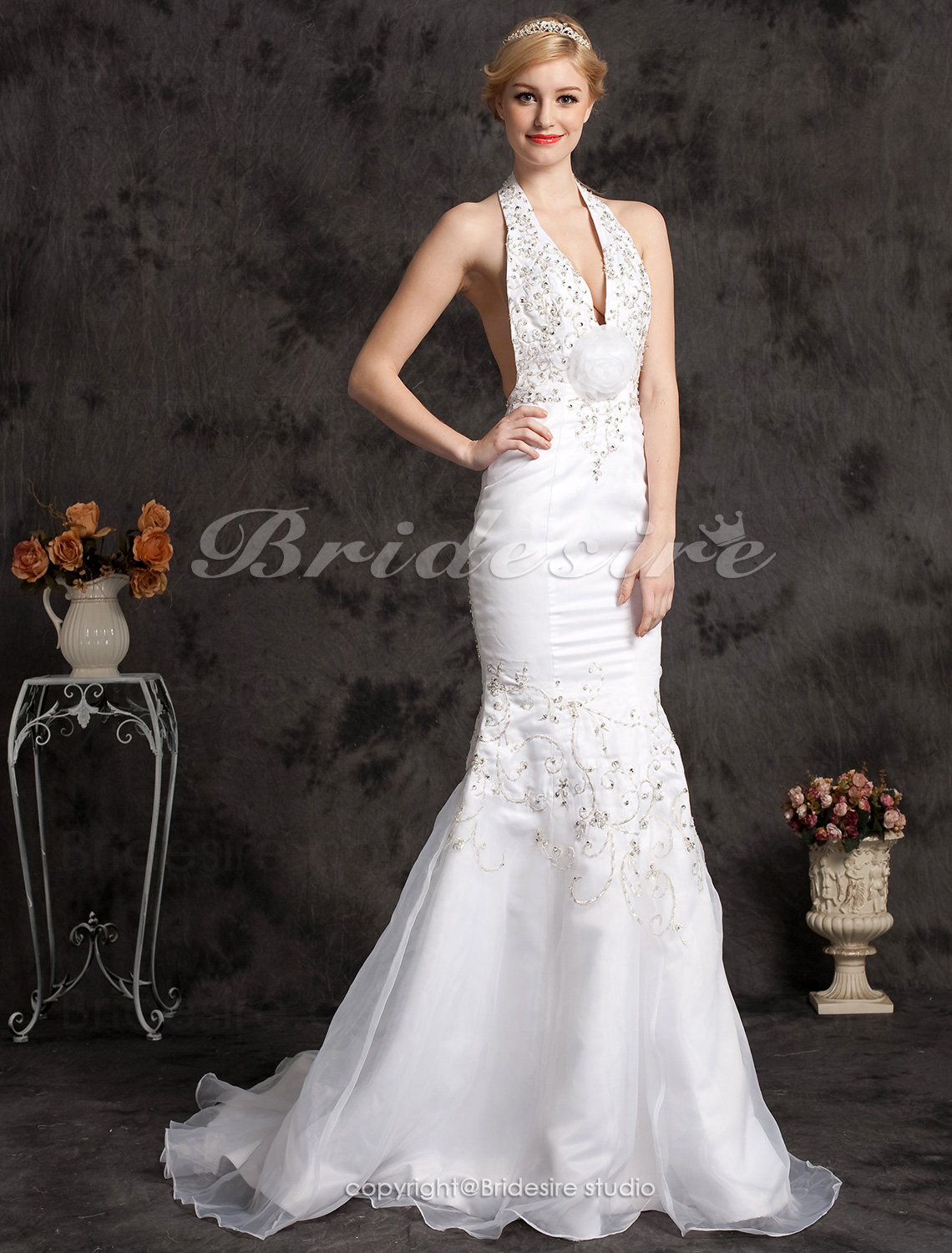 Mermaid/ Trumpet Satin Organza Court Train Halter Wedding Dress