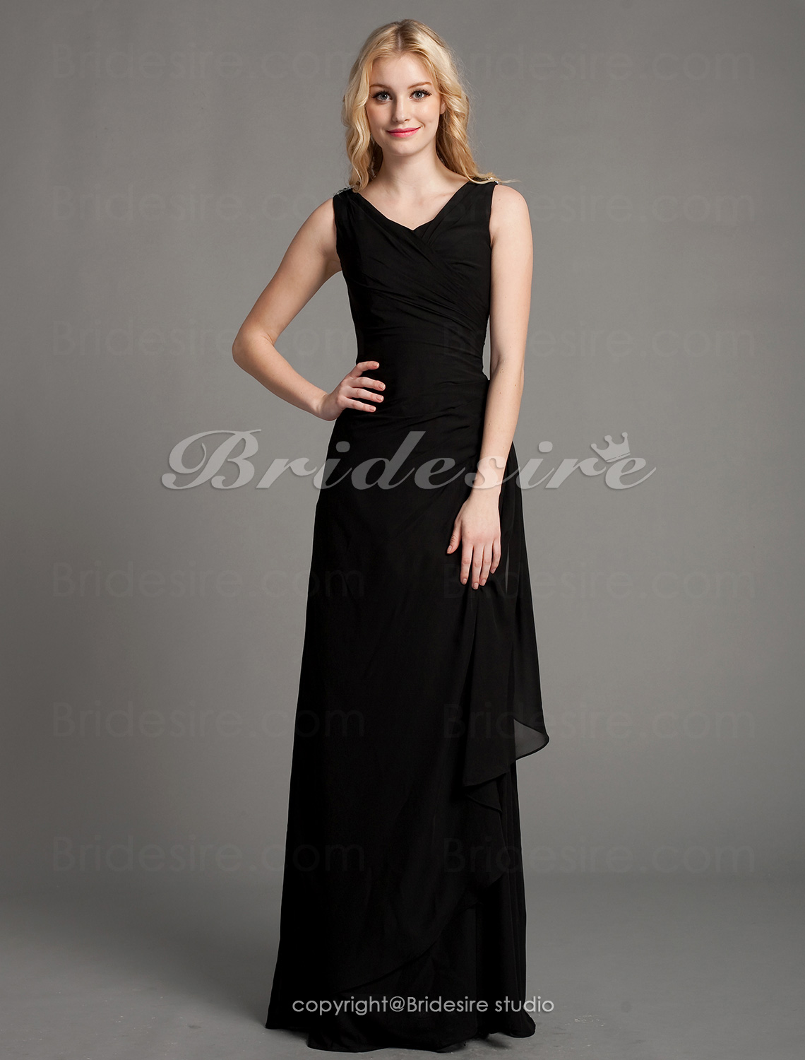 Sheath/ Column Floor-length V-neck Matte Satin Chiffon Mother of the Bride Dress