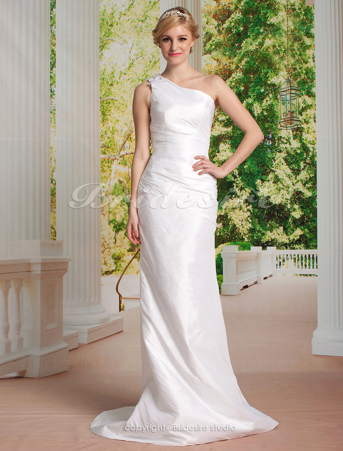 Sheath/ Column Taffeta Sweep/ Brush Train One Shoulder Wedding Dress