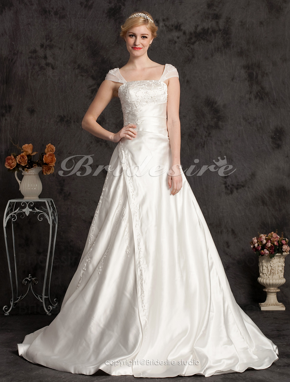 A-line Satin Chapel Train Off-the-shoulder Wedding Dress