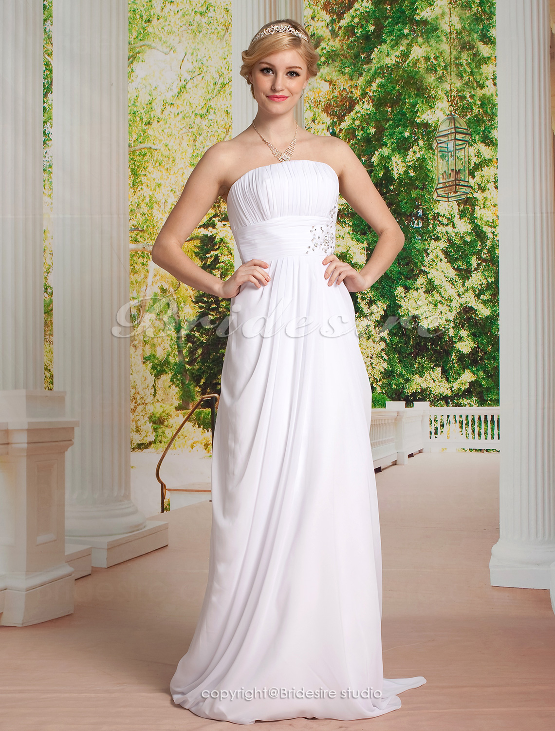 Sheath/Column Chiffon Sweep/ Brush Train Strapless Wedding Dress