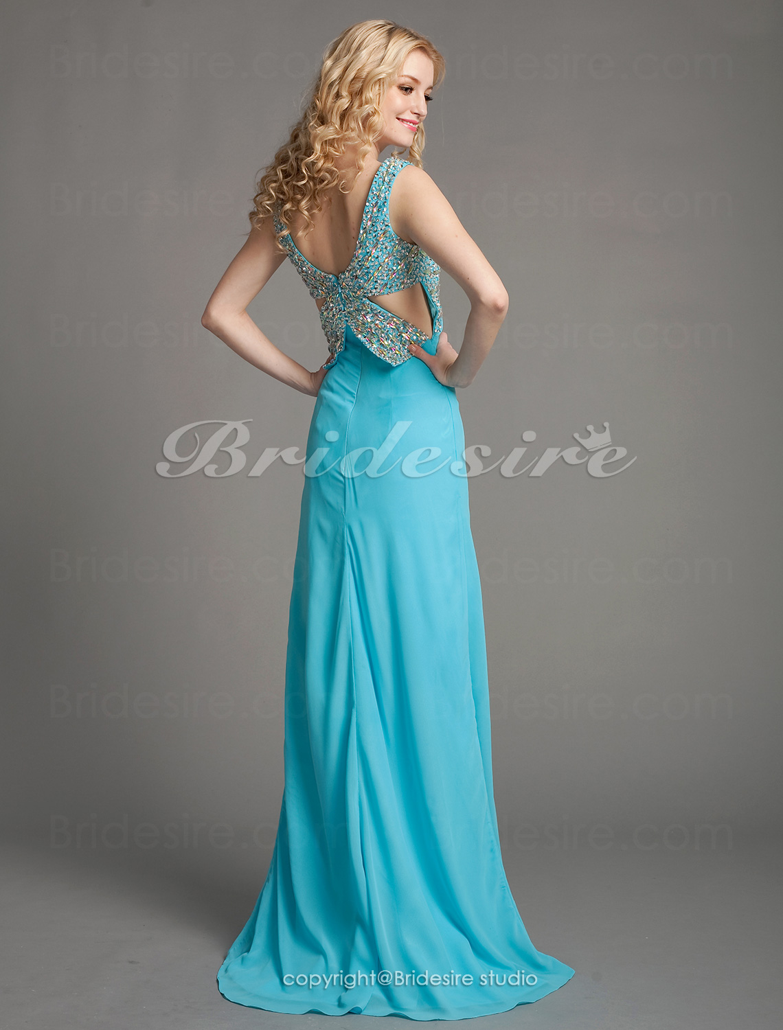 A-line Chiffon Floor-length Sweetheart Evening Dress