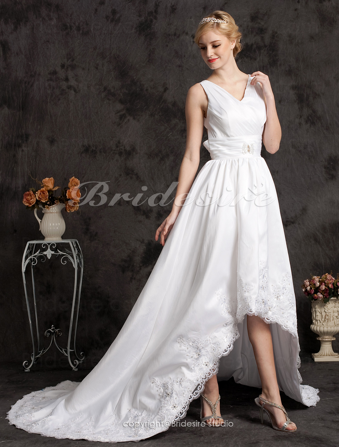 A-line Asymmetrical Taffeta And Lace Court Train V-neck Wedding Dress