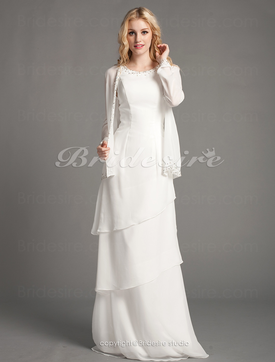Sheath/Column Chiffon Floor-length Scoop Mother of the Bride Dress With A Wrap