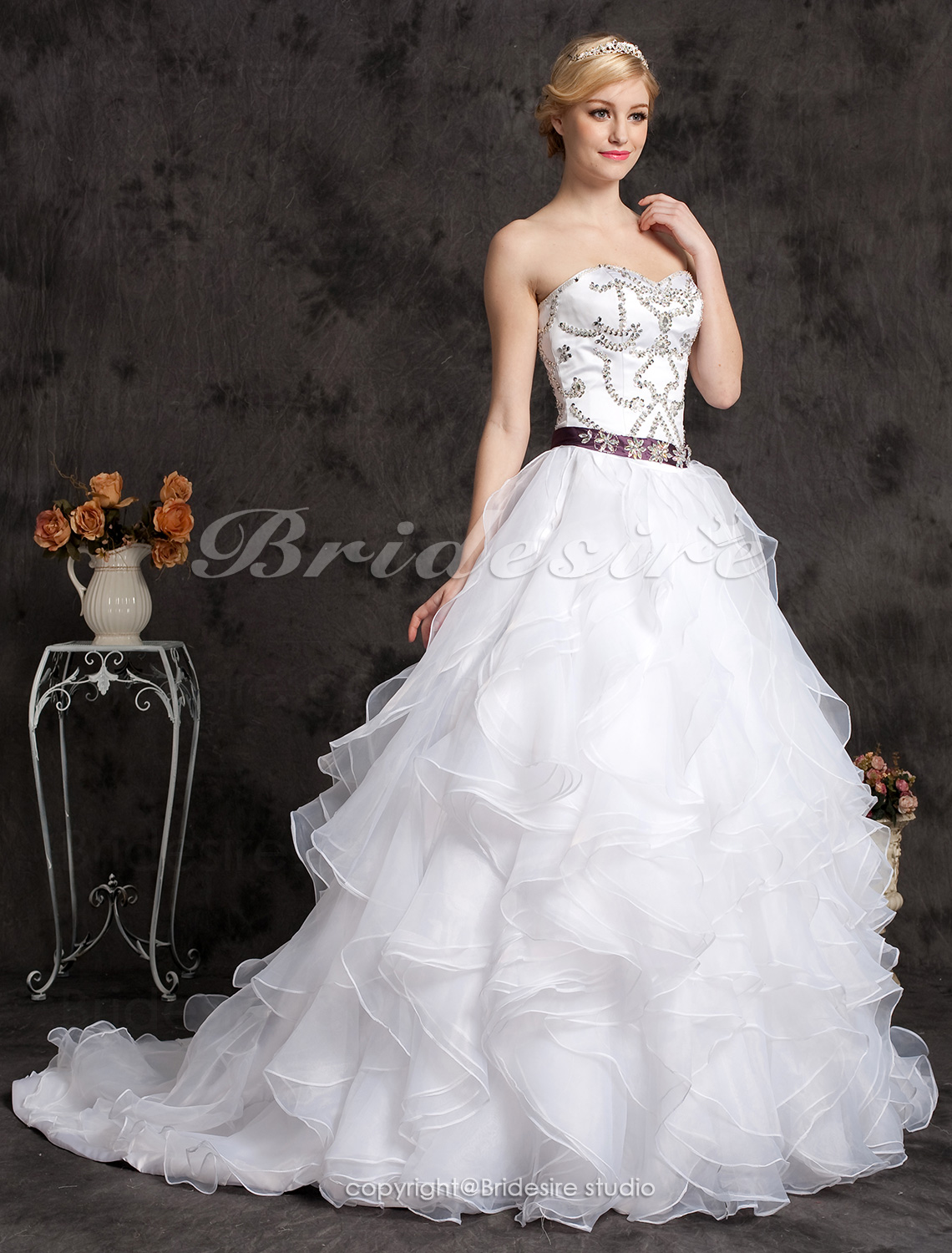 Ball Gown Organza And Satin Cathedral Train Sweetheart Wedding Dress