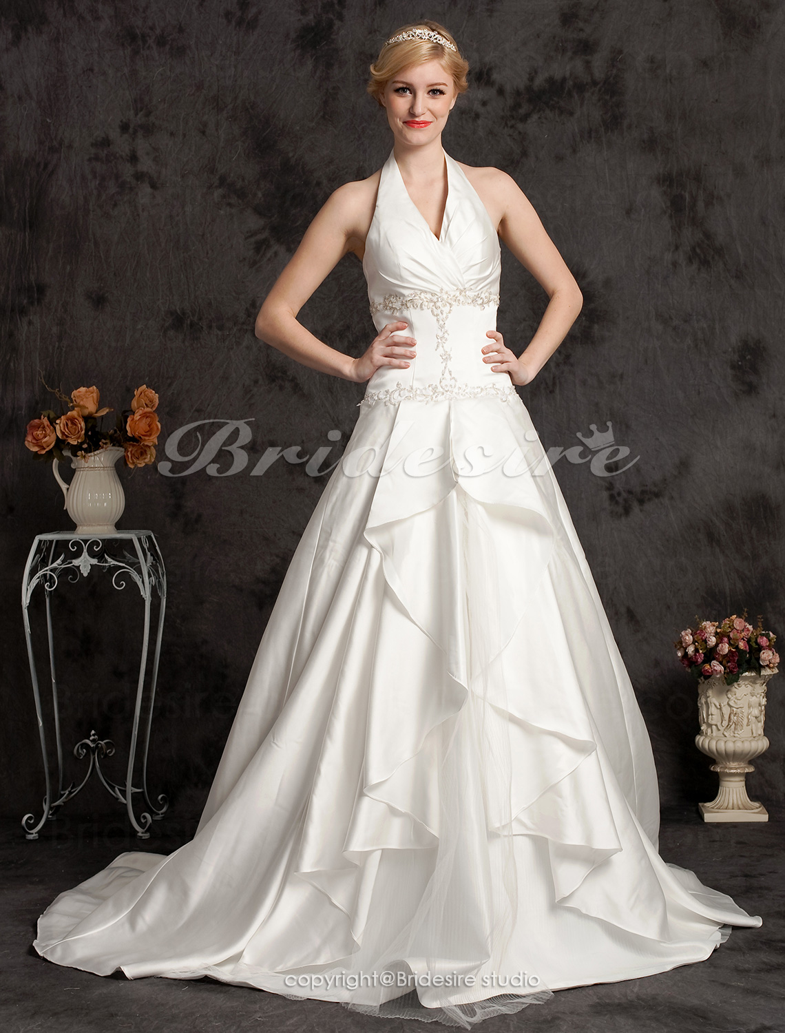 Ball Gown Satin Halter Wedding Dress