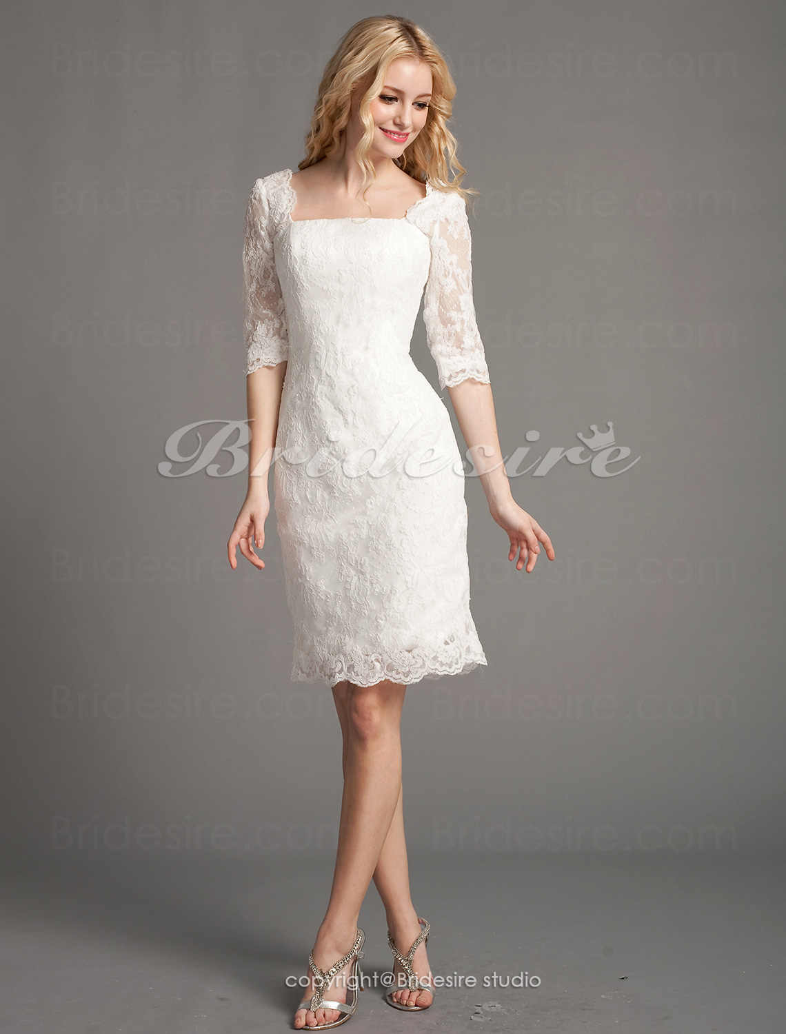 Sheath/Column Lace Short/Mini Square Wedding Dress