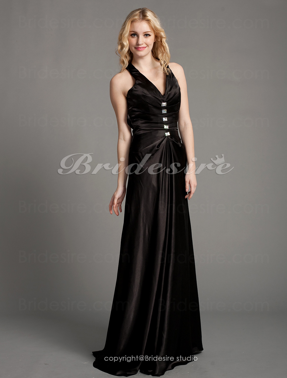Sheath/Column Knitwear Floor-length V-neck Evening Dress