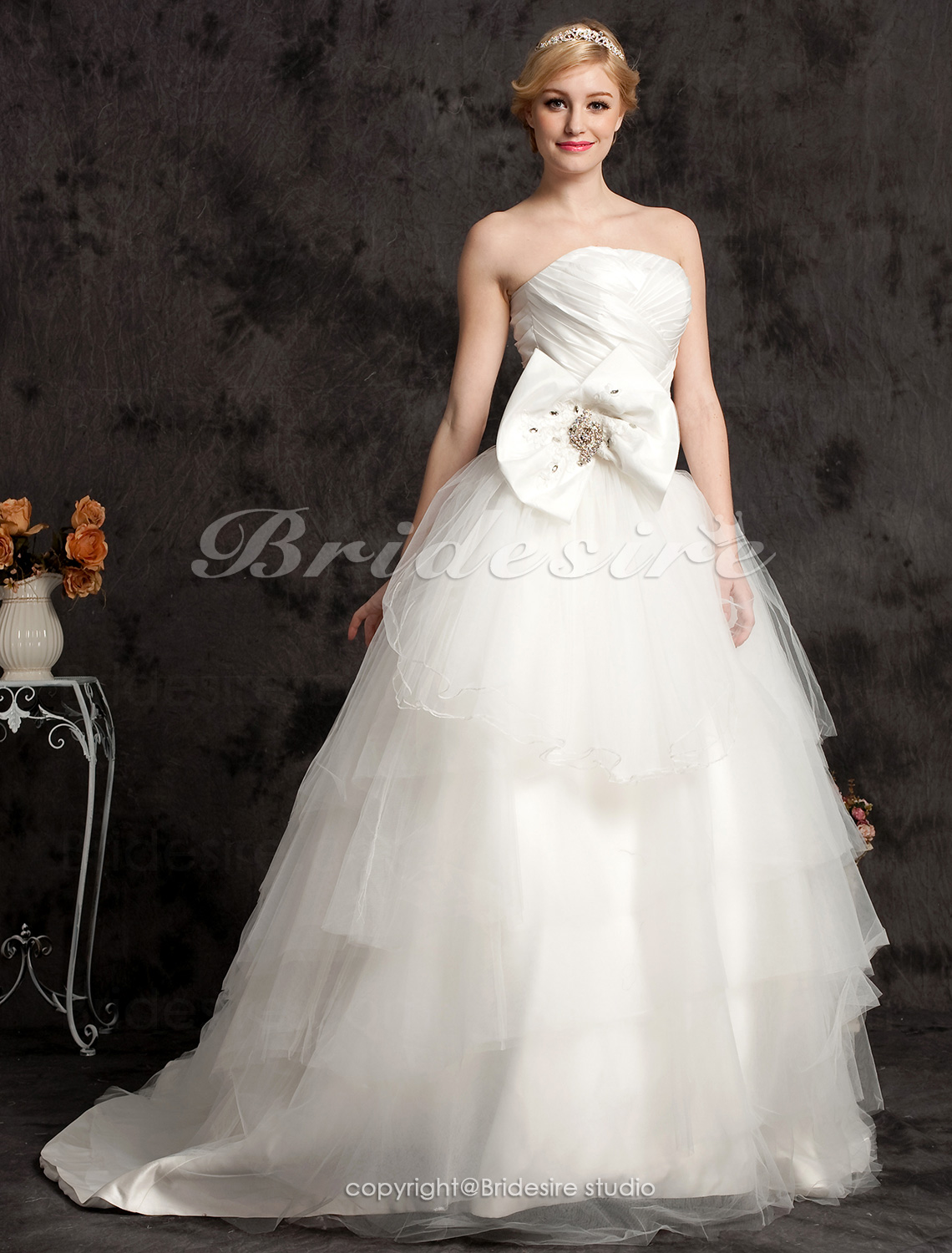 Ball Gown Chapel Train Strapless Criss-Cross Satin And Taffeta Wedding Dress