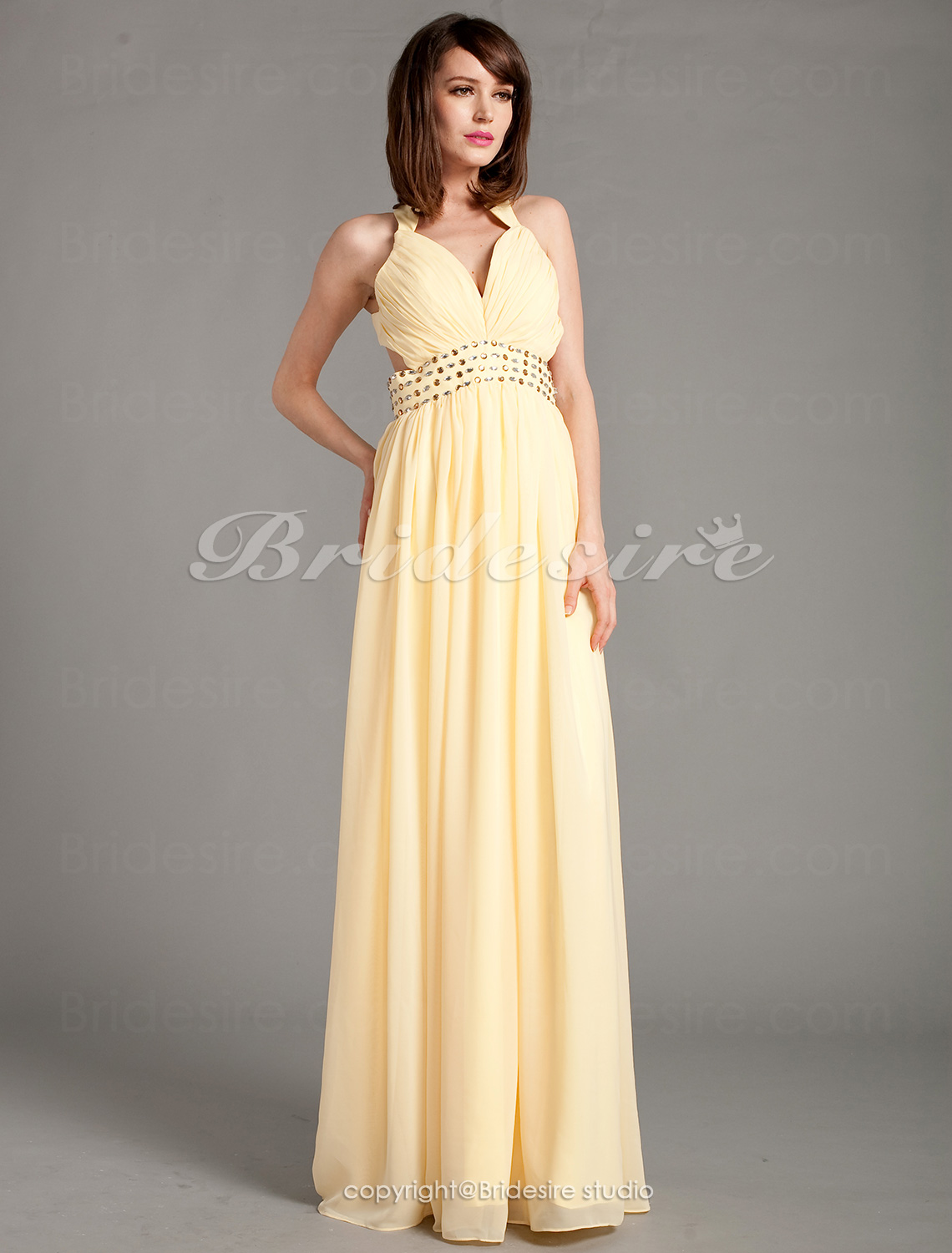 Sheath/ Column Chiffon V-neck Floor-length Straps Evening Dress