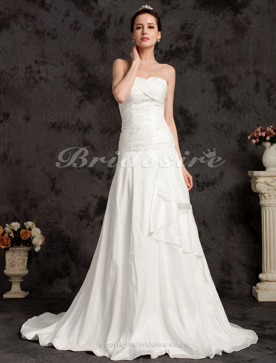 A-line Sweetheart Satin Strapless Court Train Wedding Dress