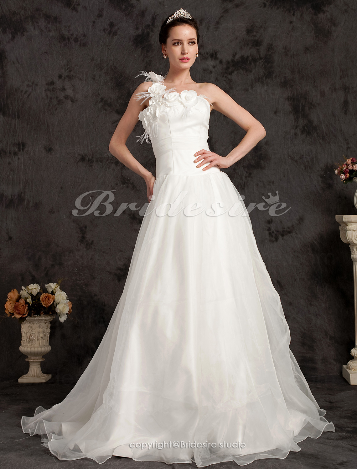 A-line Organza Satin Sweep/ Brush Train One Shoulder Wedding Dress
