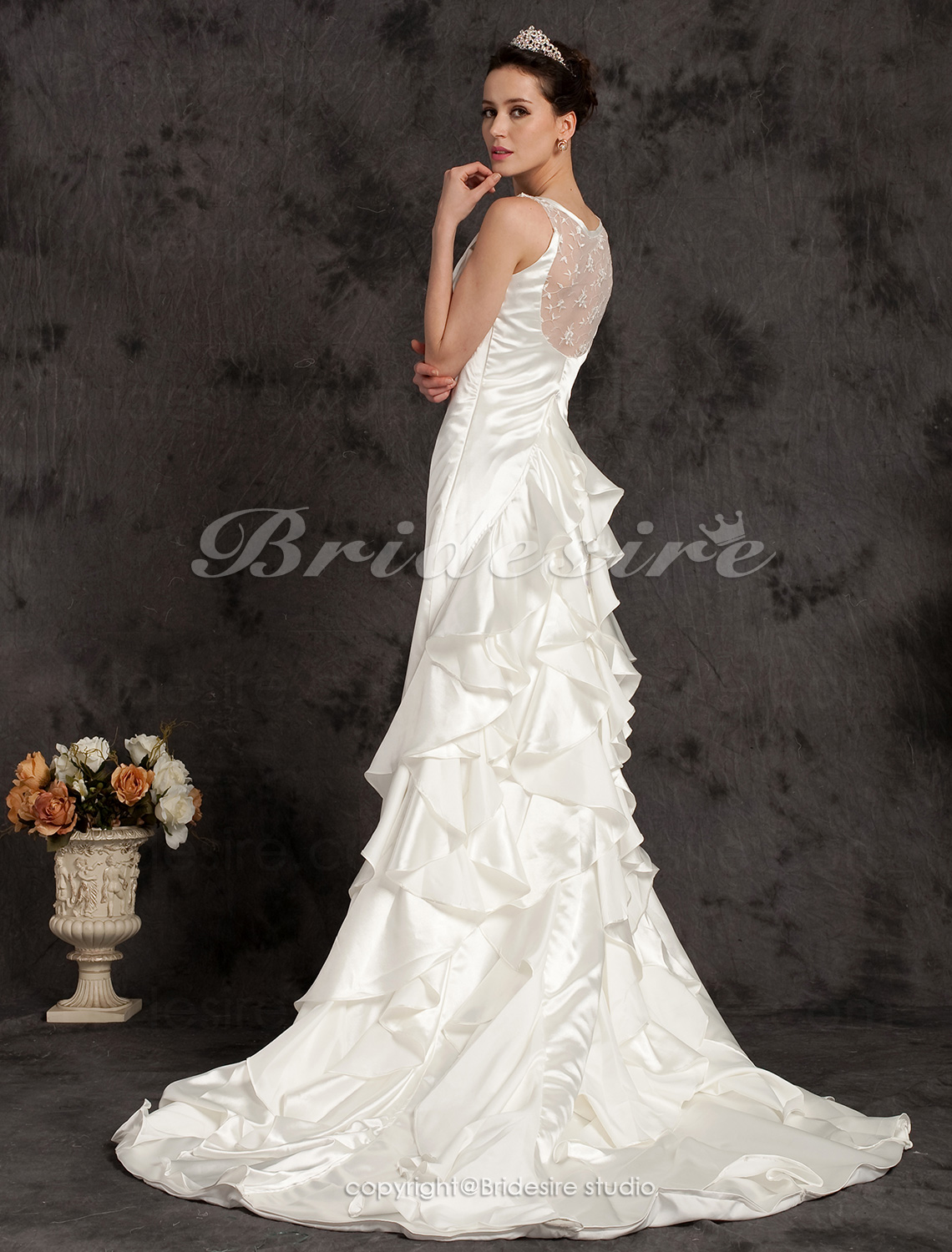 Sheath/Column Elastic Woven Satin Cathedral Train Scoop Wedding Dress