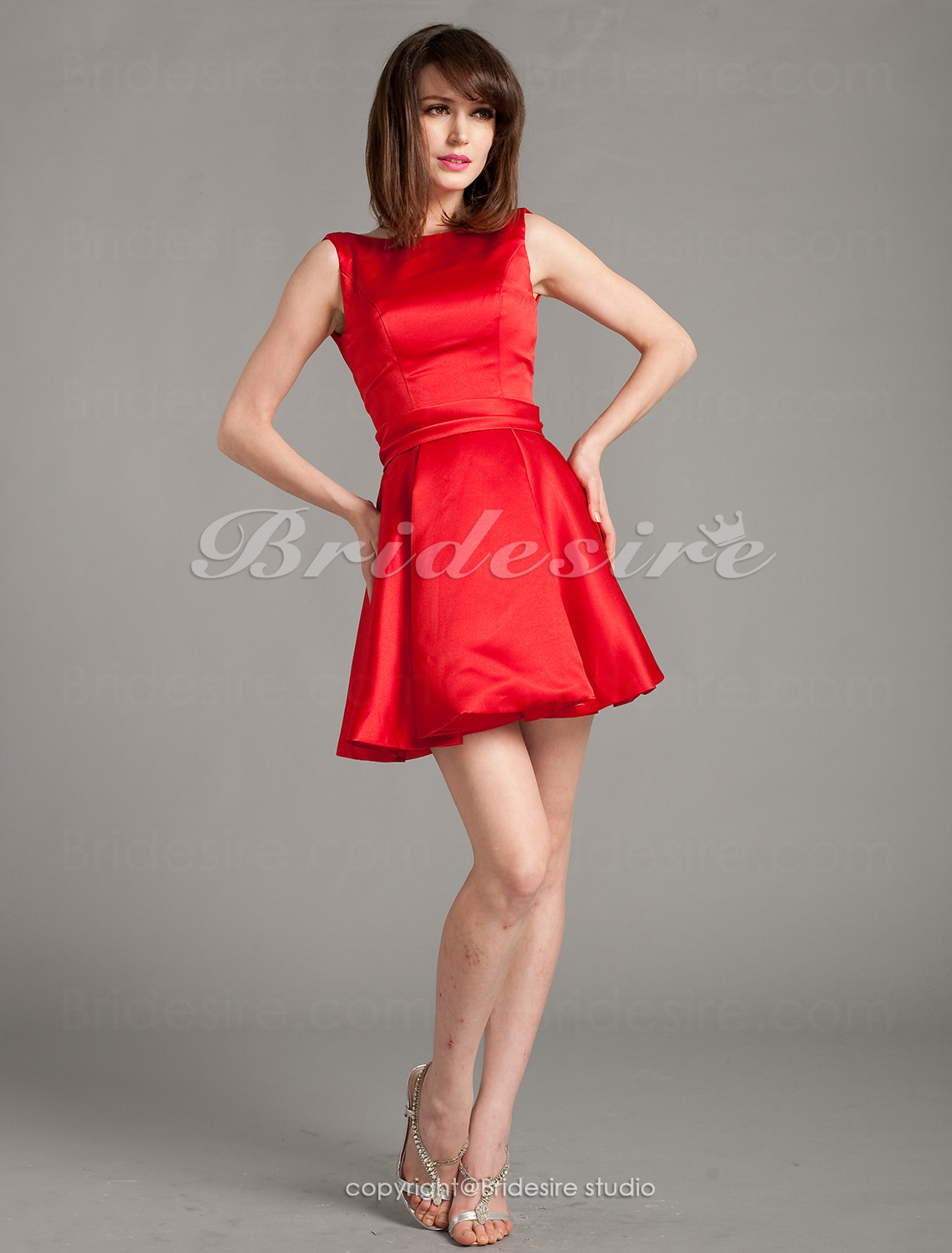 A-line Satin Short/ Mini Bateau Bridesmaid Dress
