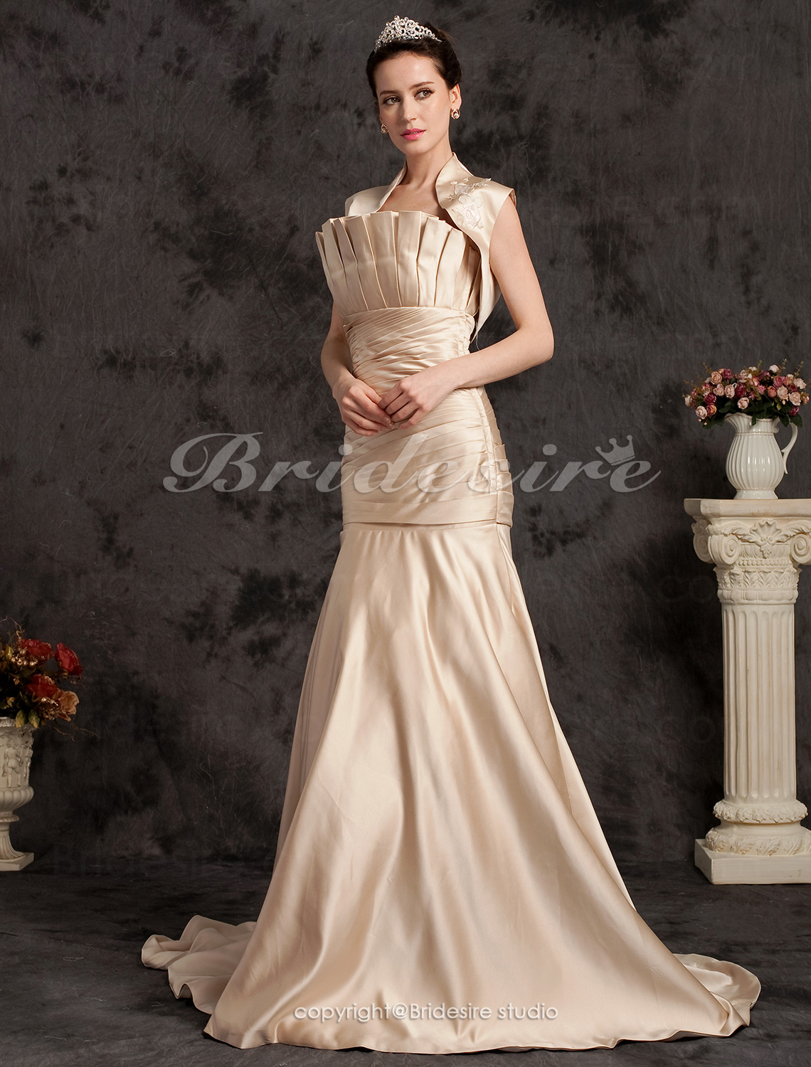 Mermaid/Trumpet Satin Court Train Strapless Wedding Dress with A Wrap