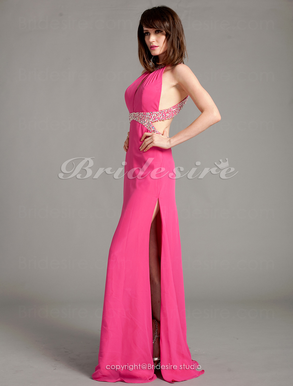 Sheath/Column Floor-length Halter Beaded Knitwear Evening Dress