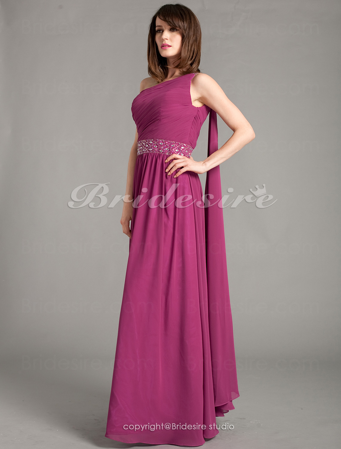 Sheath/Column Chiffon Watteau Train One Shoulder Evening Dress With Side Draping