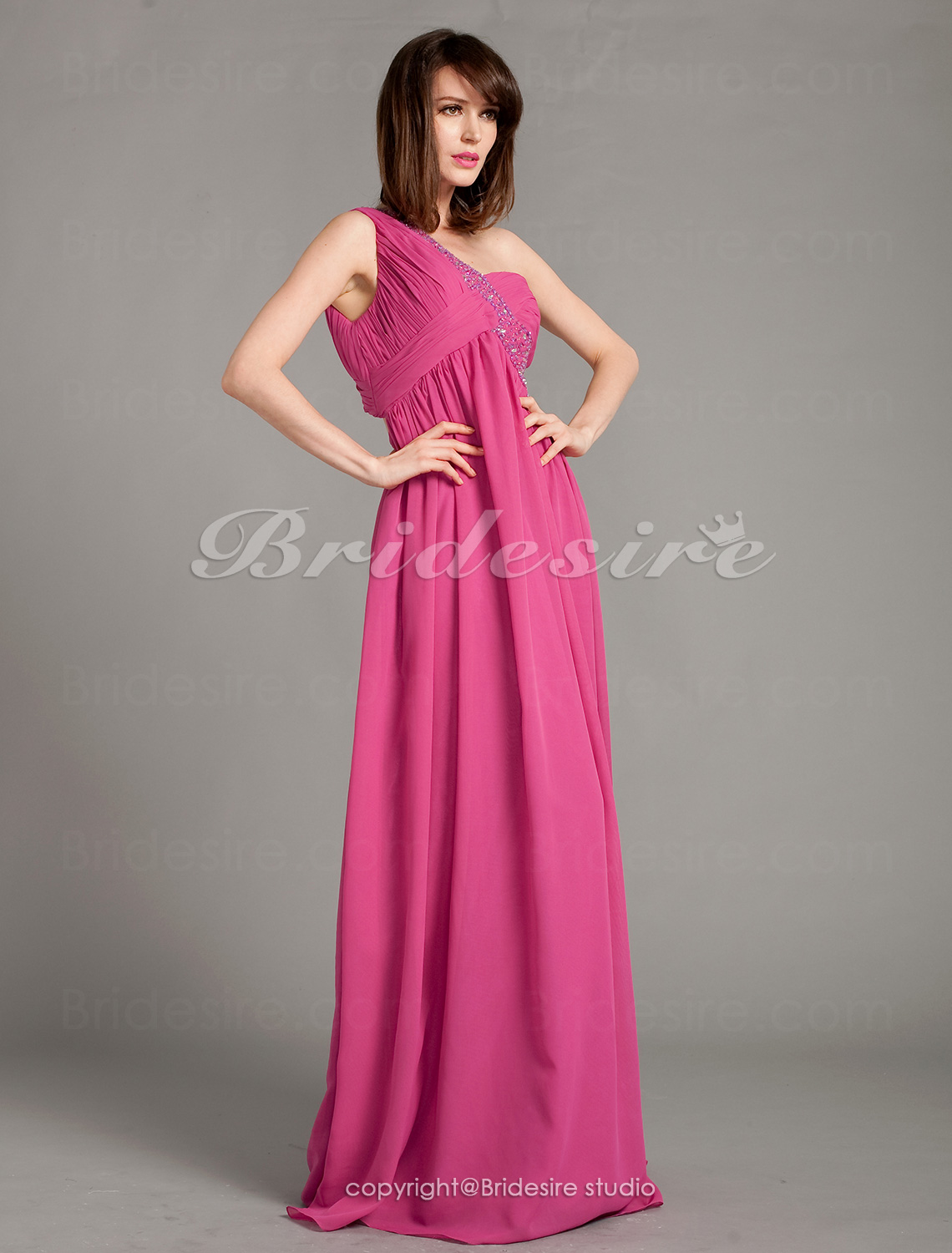 Sheath/Column Chiffon Floor-length One Shoulder Evening Dress With Beading