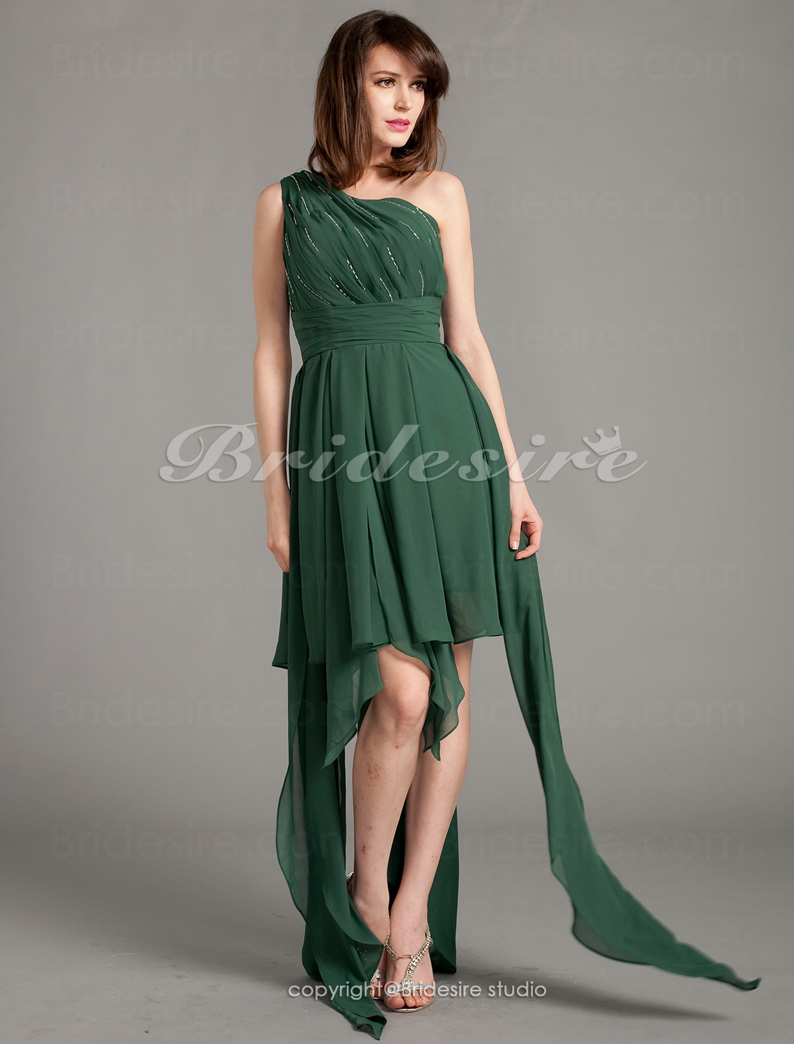 A-line Chiffon Asymmetrical One Shoulder Cocktail Dress