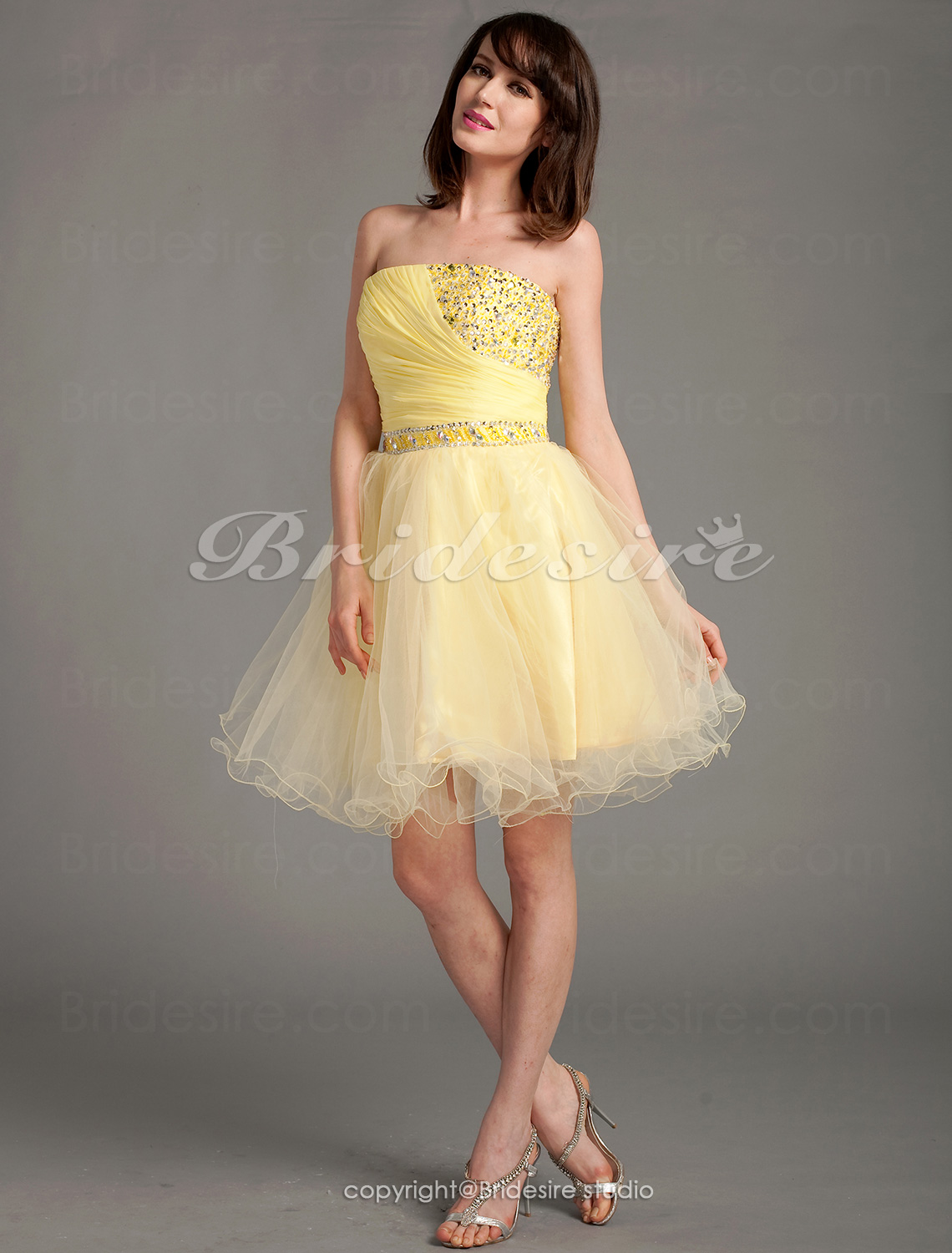 A-line Chiffon And Tulle Short/Mini Strapless Cocktail Dress With Beading And Crystal Detailing