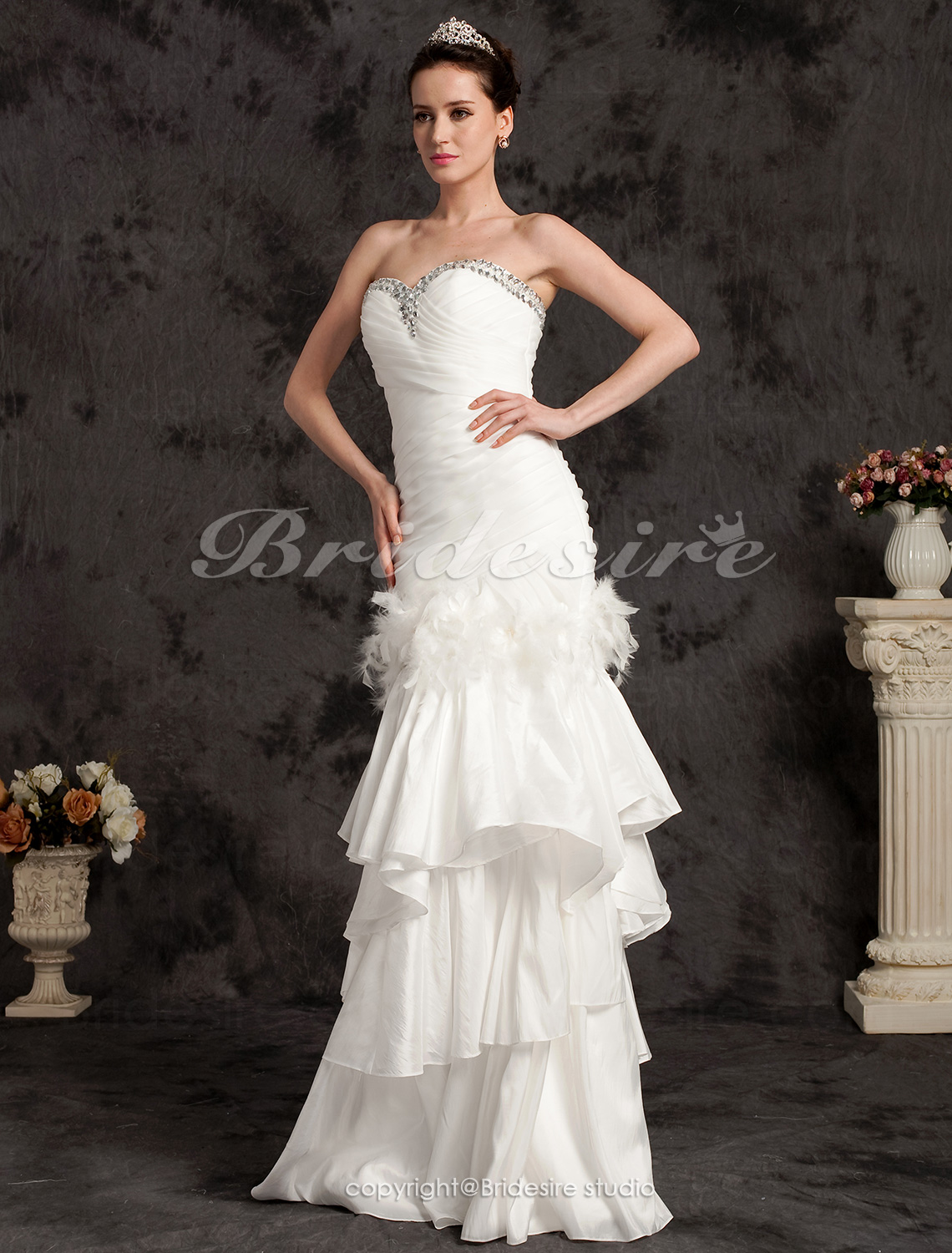 Trumpet/Mermaid Two-In-One Sweetheart Organza And Satin Floor-length Wedding Dress