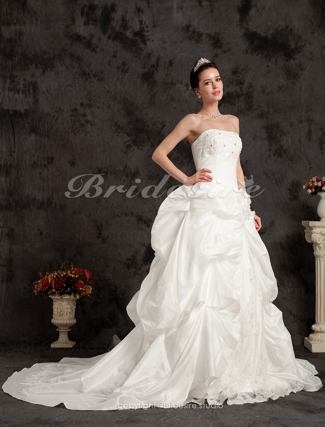 Ball Gown Chapel Train Taffeta Strapless Wedding Dress