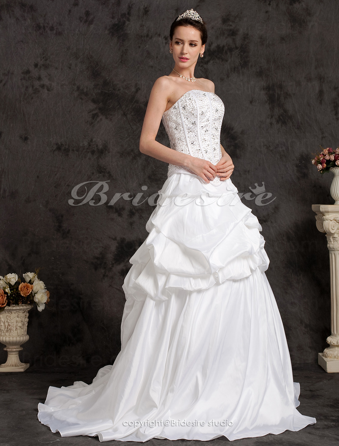 Ball Gown Two-In-One Strapless Taffeta Court Train Wedding Dress