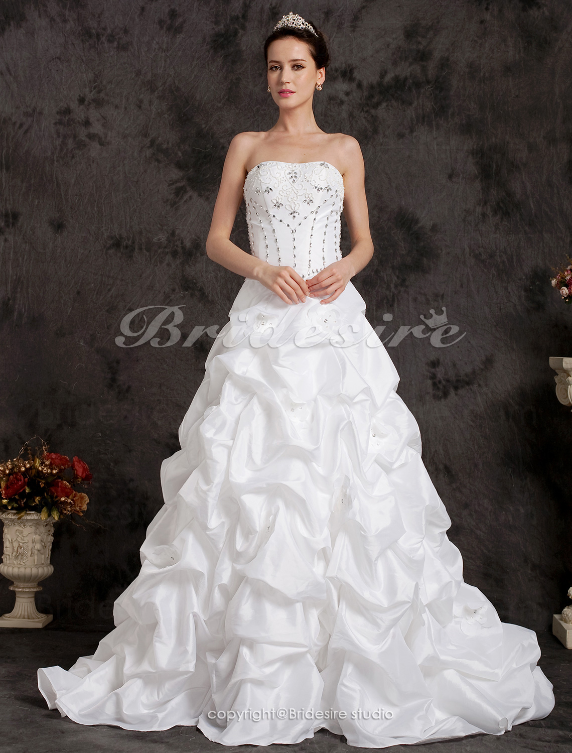 Ball Gown Two-In-One Sweetheart Taffeta Court Train Wedding Dress