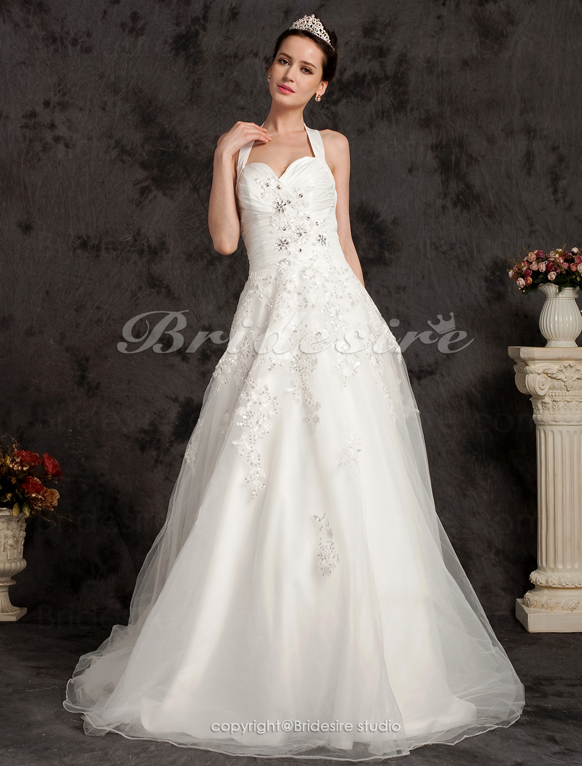 Ball Gown Chapel Train Satin And Tulle Halter Wedding Dress