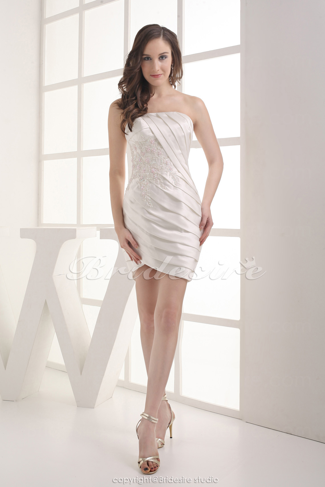 Sheath/Column V-neck Halter Straps Asymmetrical Sleeveless Stretch Satin Dress