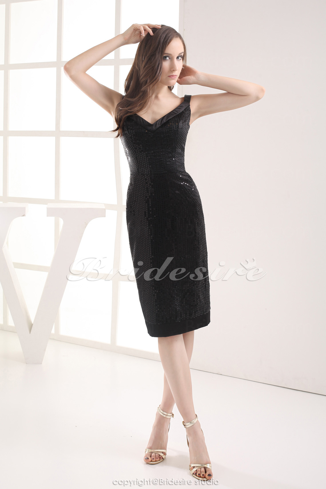 Sheath/Column V-neck Tea-length Sleeveless Satin Sequined Bridesmaid Dress