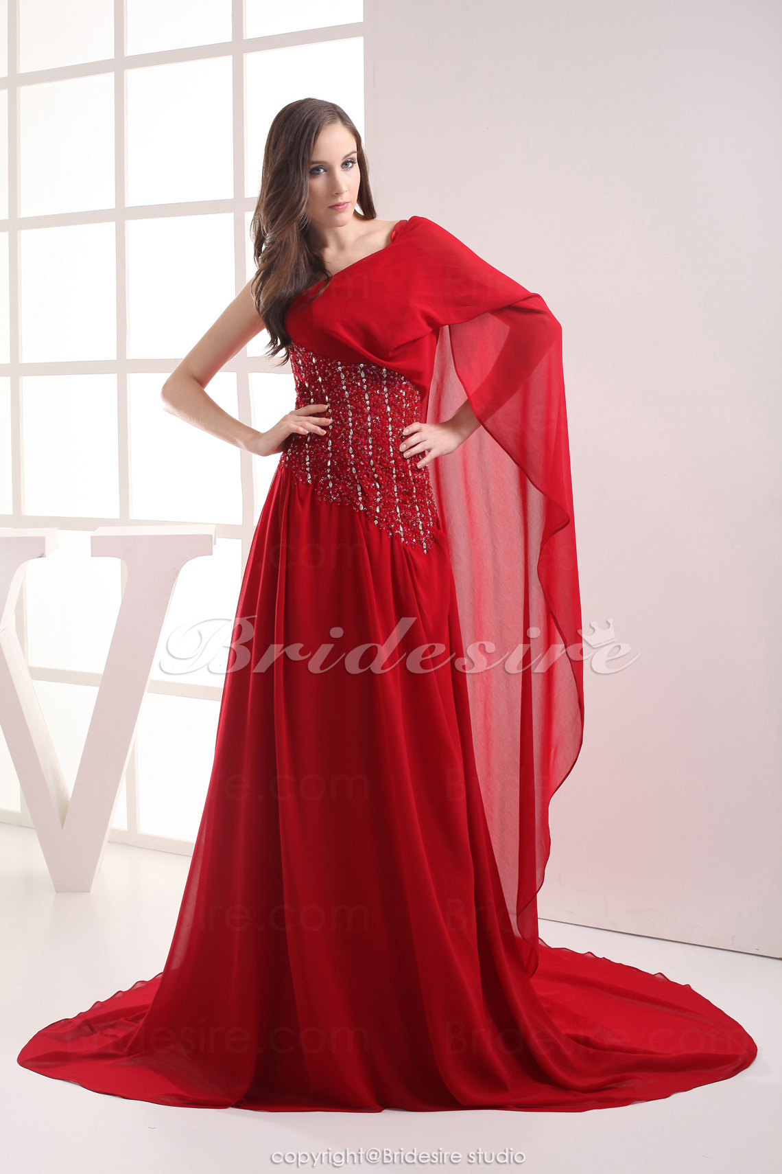 A-line One Shoulder Chapel Train Long Sleeve Chiffon Dress