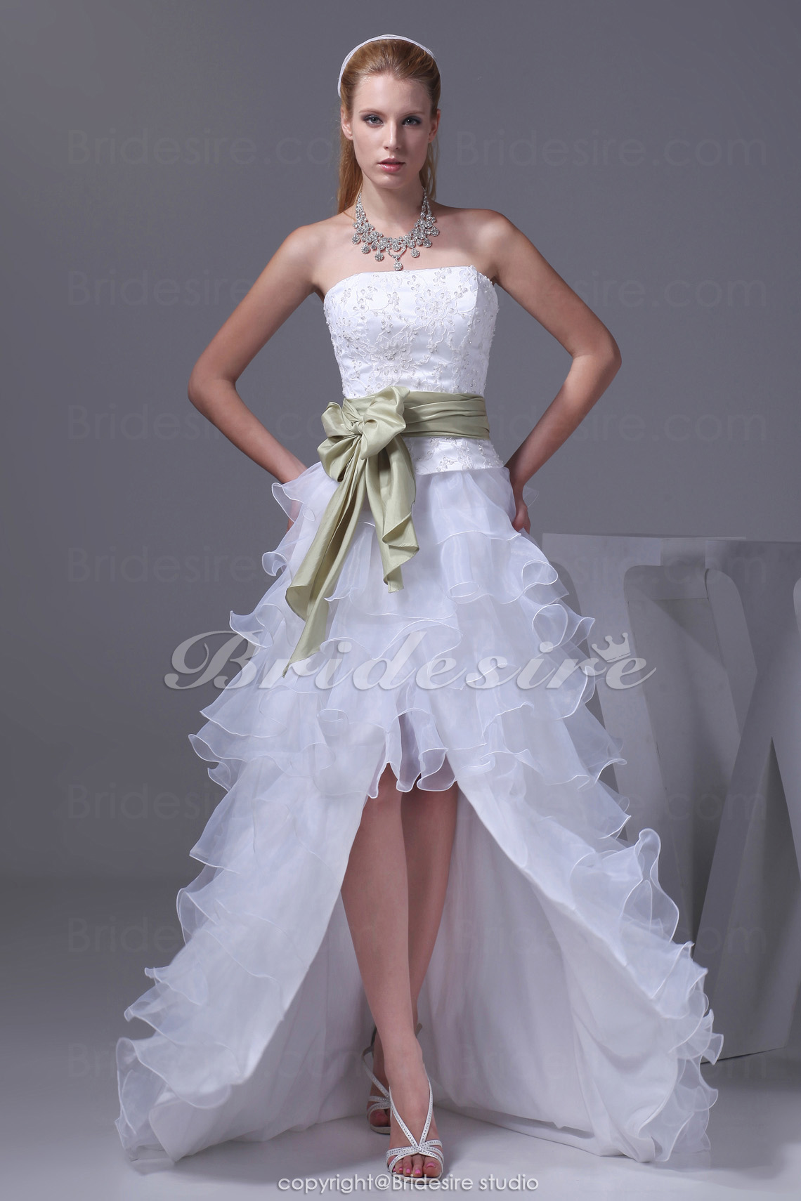 A-line Strapless Asymmetrical Court Train Sleeveless Organza Lace Taffeta Wedding Dress