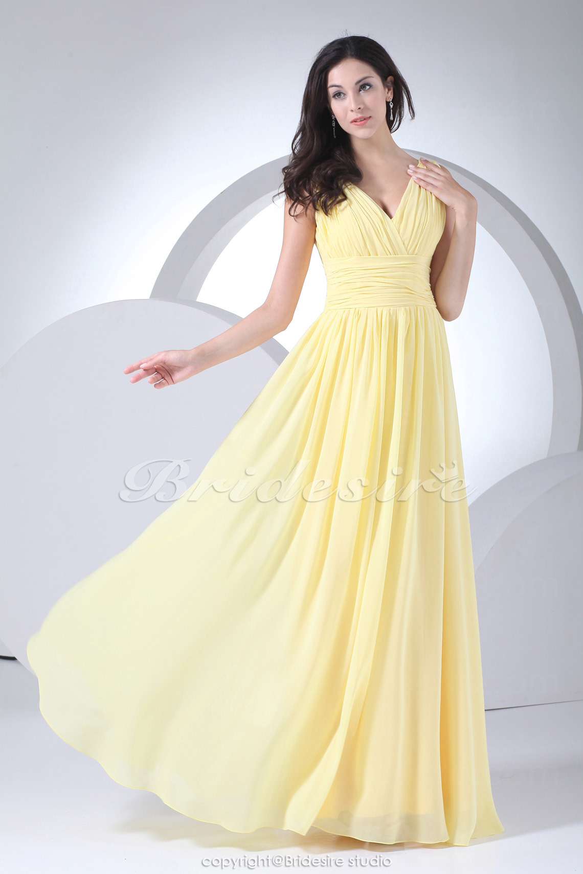 Sheath/Column V-neck Floor-length Sleeveless Chiffon Bridesmaid Dress
